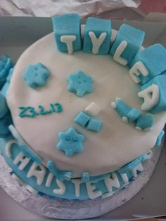 Delicious bespoke cakes by Lucy's Sweet Treats. Two tier Christening Cake