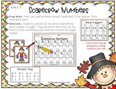 "Fall literacy and math centers for Kindergarten. 17 Common Core aligned center activities. All activities include kid-friendly ""I Can"" posters, recording sheets, and extra printable worksheets to reinforce skills."