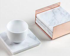 4 Square Carrara Marble Coasters by Marbleandmetal on Etsy