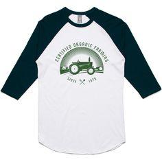 theIndie Organic Farming (Green) 3/4-Sleeve Raglan Baseball T-Shirt