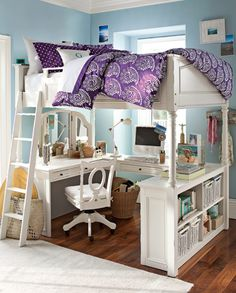 lofted bed with vanity and computer/homework desk below - I would love to be talented enough to create this awesome space saver
