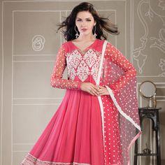 Pink Faux Georgette Readymade Anarkali Churidar Kameez