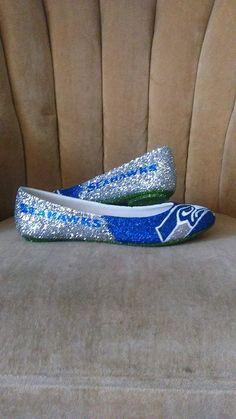 64c0259acfd7 Custom made fan art heels. silver seahawks shoes. Seahawk shoes. Seahawk  flats.