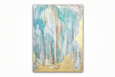 Abstract Painting Original Art Acrylic Painting Aqua Painting Gold Leaf  on Canvas Home Décor Painting Gold Leaf Painting