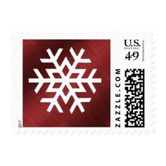 #Red and White Snowflake Christmas Postage Stamp - #Xmas #ChristmasEve Christmas Eve #Christmas #merry #xmas #family #kids #gifts #holidays #Santa