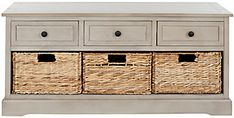 Safavieh Damien 3 Drawer Storage Bench | Ashley Furniture HomeStore Grey Storage Bench, 3 Drawer Storage Unit, Wood Storage, Storage Spaces, Storage Benches, Storage Shelves, Storage Cabinets, Bench Furniture, Furniture Making
