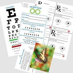 Free pretend play Eye Doctor printables from Bramble Box. www.brambleboxprops.com.