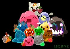 Slime Rancher Slimes with some food.