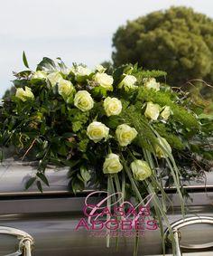 Flower Casket Sprays Tucson AZ | Casas Adobes Florist Casket Flowers, Casket Sprays, Sympathy Flowers, Garden Spaces, Funeral, Lush, Delicate, Table Decorations, Green