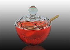 Orange Lidded Bowl by ART on Glass Studio. American Made. See the designer's work at the 2016 American Made Show, Washington DC. January 15-17, 2016. americanmadeshow.com #americanmadeshow, #americanmade, #glass, #artglass, #liddedbowl, #bowl