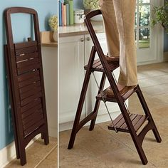 """Wooden Step Stool/Ladder   $69 - $89  Attractive, hardwood step stool provides sure footing with every step! This step stool/ladder is crafted from solid hardwood for superior strength and durability. Its handsome, deep mahogany finish will look great in any room of your home. Steps are generously sized—unlike the skimpy ones found on plastic ladders. A locking top step and a safety rail for easy up and down provide additional security. Folds flat to 2¼""""-deep. 225-lb. weight capacity."""