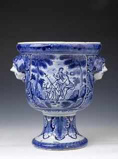 Dutch Delftware Urn-shaped, Jardinière, circa 1735. Delftware is blue & white pottery made in Delft (Netherlands) & the tin-glazed pottery made from the 16th century. Delftware includes pottery objects of all descriptions such as plates, ornaments & tiles.