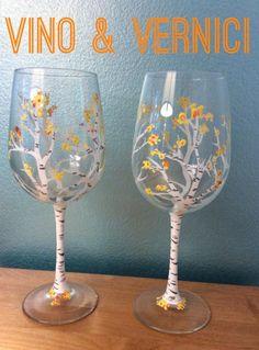 Fall birch tree wine glass Vino & Vernici