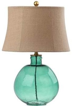 From your nightstand to your end table, the Rasby Table Lamp from Safavieh is an easy way to bring character to your space. Boasting a round textured glass base paired with a brown linen shade, this lamp will bring color and style to your space. Transitional Table Lamps, Light Bulb Wattage, Green Table, Pipe Lamp, Table Lamp Sets, Modern Bohemian, Glass Table, Glass Design, Light Shades