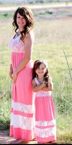 Mommy and Me Lace Coral Maxi Dress