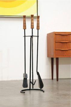 Mid Century Modern Fireplace Tools Set George Nelson Style Danish Ebay