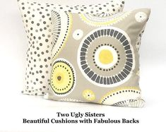 Grey Abstract Cushion Modern Cushion Grey Yellow Geometric Cushion Retro Style Print Fabric Polka Dot Pillow Two Ugly Sisters Free Shipping Modern Cushions, Geometric Cushions, Floral Cushions, Striped Cushions, Cushion Pads, Cushion Covers, Grey Tote Bags, Fabric Storage Baskets, Yellow Interior