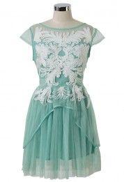 Floral Embellishment Mint Green Tulle Dress