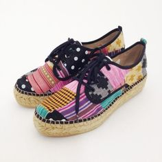 GAIMO Randy Patchwork Lace-up Sneaker Espadrilles   Spanish Fashion - SPANISH SHOP ONLINE   Spain @ your fingertips  #patchwork #sneakers