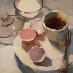Eggless egg shells coffee, painting by artist Carol Marine Painting Still Life, Still Life Art, Art Blanc, Art Abstrait, Arte Floral, Art Plastique, Art Oil, Painting Inspiration, Painting & Drawing