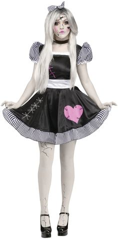 Creepy and cute at the same time. Black and white dress with matching hairbow and tights with printed crack-like marks. Shoes and choker are not included. Small/medium adult size fits 2-8.