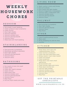 Weekly housework chores, home cleaning tips, home cleaning printable checklists,… - Home Cleaning Schedule For Working Moms