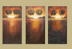 Tree painting Abstract rustic landscape triptych marems made to order number 28