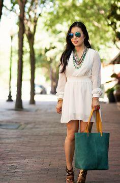 cute & little blog | petite fashion | white chiffon dress, stella & dot sutton statement necklace, hmk teal tote | summer outfit