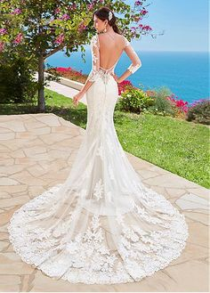 Glamorous Tulle V-neck Neckline Mermaid Wedding Dresses With Lace Appliques