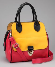 Take a look at this Fuchsia & Yellow Color Block Satchel by Adhesion, LLC on #zulily today!