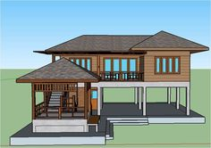 Two Story House Design, Small House Design, Dream Home Design, Modern House Design, Hut House, Tiny House Cabin, Beach House Plans, Small House Plans, Raised House