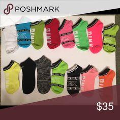PINK ANKLE SOCKS 15 Pair of ankle socks shown in photo PINK Victoria's Secret Accessories Hosiery & Socks