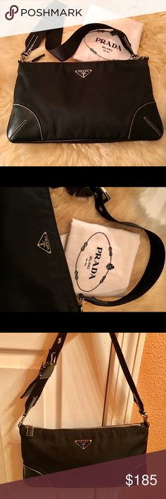 """AUTHENTIC Prada Tussuto & Saffiano Shoulder Bag Like new, I have used it only a few times. Pristine condition. It has Prada signature fabric and standard markings, enamel triangle Made in Italy logo on front, rectangular tag inside. Zip top bag with internal zip pocket. Prada engraved on buckles and rings. Shoulder strap is woven nylon webbing and leather combined, very comfortable. Dimensions: 12"""" x 7"""" x 1.5"""", 23"""" webbing/leather strap with 3 adjustable holes. Dust cover included…"""