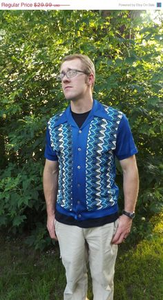 SHOP SALE Vintage 60s Mens Shirt Blue Casual Carleton by soulrust, $25.49