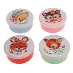 4er-Set Snackboxen Tiergesichter