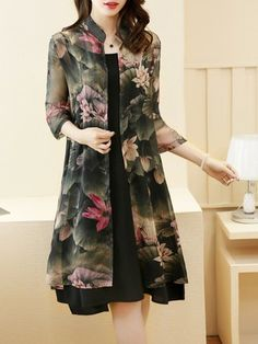 Plus Size Stand Collar Women Green Dress Daily 3/4 Sleeve Printed Floral Dress