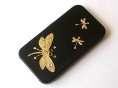 Golden Dragonflies iPhone 4 and 4s Flip Case  by LeBoudoirNoir
