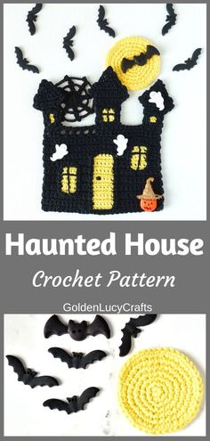 This crochet Haunted House applique will make a great Halloween home decoration! Halloween applique, DIY home decor, crochet wall art, free crochet pattern Halloween Crochet Patterns, Halloween Applique, Halloween Hats, Easy Crochet Patterns, Crochet Designs, Halloween Ideas, Crochet Fall, Crochet Home, Free Crochet
