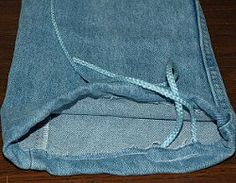 Denim Drawstring Bag...I thought to use these as reusable gift bags for Christmas next year