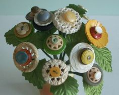 how about also in a bridal bouquet....Cottage Buttons