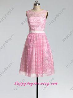 Short Lace Bridesmaid Dress Junior Bridesmaid Dress by HappyBegins, $94.00