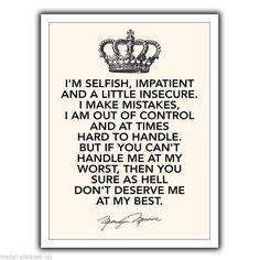"""Metal Sign Wall Plaque """"I'M Selfish Impatient"""" Marilyn Monroe Quote Print Poster"""