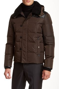 The Kooples Puffer Jacket with Shearling Collar $369.97
