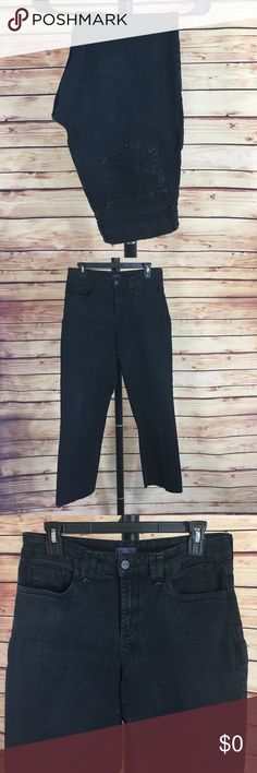 """👖 NYDJ dark blue denim jeans ✨Newly listed items are priced to move.. please help me clear out my actual closet 😉 Brand: NYDJ Jeans Size: 10 Type: dark denim wash, straight leg style Details: four functioning pockets, raw hem   Waist measurement: 16"""" across  Inseam: 29.5"""" Length: 39.5"""" Condition: preloved, good *bottom hem is cut across / raw hem   Other: this item does not fit me, sorry I cannot model ✨Build a bundle with all your likes and use the automatic bundle discount -or- make me a…"""