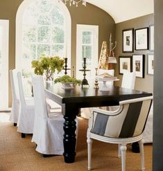 I think I like this wall color for the dining room, but I don't know about the chair stripe color...