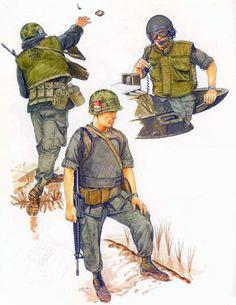 """Flak Jackets: • US Marine, M-1955 armour; 1968 • US tank commander, M69 armour; 1968 • US infantryman, 'Variable' armour; 1969"", Ronald Volstad"
