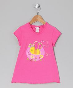 Pink Bees 'n' Bugs Lettuce-Edge Tee - Infant, Toddler & Girls  by Bubble & Squeak @zulily.com