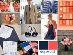 navy blue and coral wedding colors | navy and coral with little touches of white guys would wear khaki ...