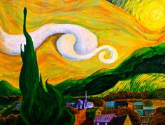 Sunny Day Original Painting- Surreal Landscape