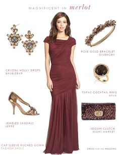 Merlot evening gown is a beautiful choice for a fall formal wedding, and a stunning style for the Mother-of-the-Bride in a fall or winter wedding.